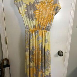 Yellow, gray, orange and white dress